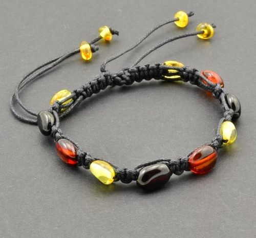 Knitted Adjustable Bracelet with Precious Healing Baltic Amber