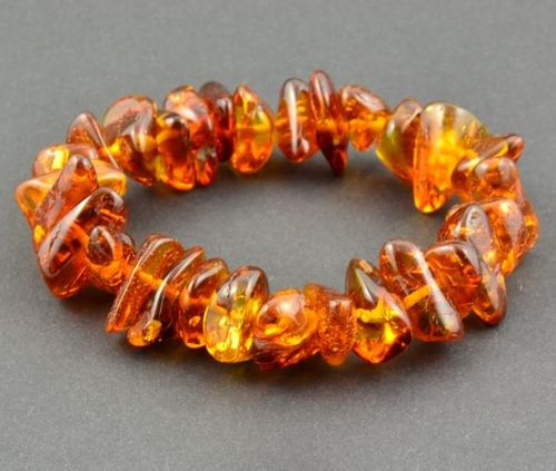 Amber Bracelet Made of Freeform Baltic Amber Nuggets