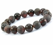 Amber Bracelet with Polished and Matte Black Baltic Amber