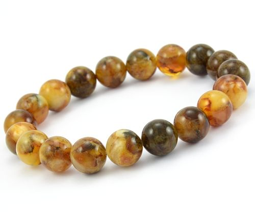 Amber Bracelet Made of Amazing Marble Baltic Amber