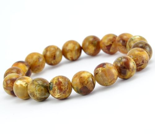 Amber Bracelet with Polished Light Marble Baltic Amber