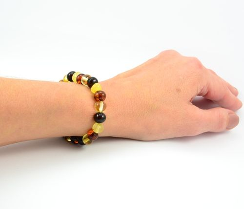 Amber Healing Bracelet Made of Multicolor Baltic Amber