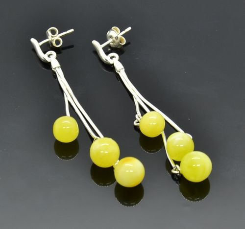 Amber Dangle Earrings Made of Amazing Baltic Amber