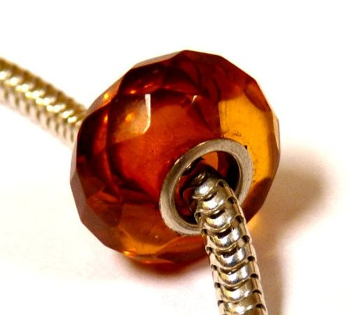 Faceted Amber Charm Bead Made of Amazing Baltic Amber