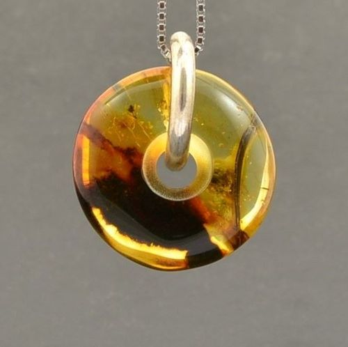Amber Donut Pendant Made of Precious Healing Baltic Amber