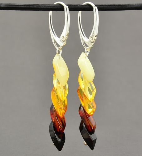 Amber Earrings Made of Overlapping Baltic Amber