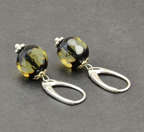 Faceted Amber Earrings Made of Amazing Healing Baltic Amber