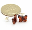 Amber Stud Earrings with Cognac Baltic Amber