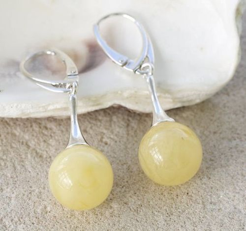Amber Drop Dangle Earrings Made of Amazing Baltic Amber