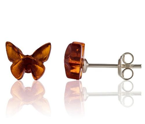 Amber Butterfly Stud Earrings Made of Amazing Baltic Amber
