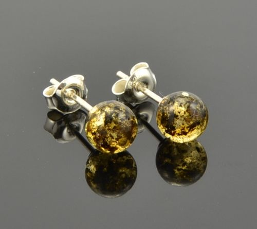 Amber Stud Earrings Made of Precious Healing Baltic Amber