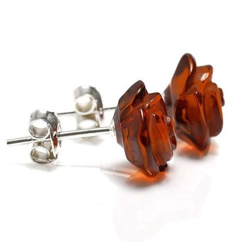 Amber Rose Stud Earrings Made of Amazing Baltic Amber