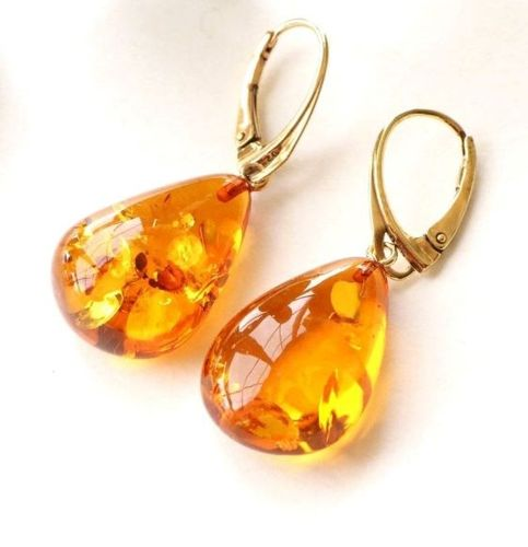 Amber Earrings Handmade of Precious Healing Baltic Amber