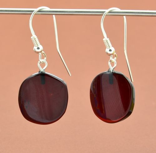 Amber Earrings Made of Amazing Dark Cherry Baltic Amber