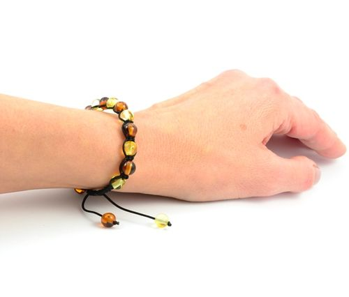 Hand Knitted Adjustable Bracelet with Healing Amber