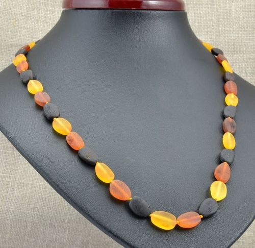 Raw Amber Necklace Made of Healing Precious Baltic Amber