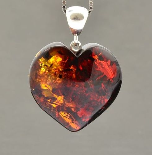 Large Amber Heart Pendant Made of Precious Healing Baltic Amber