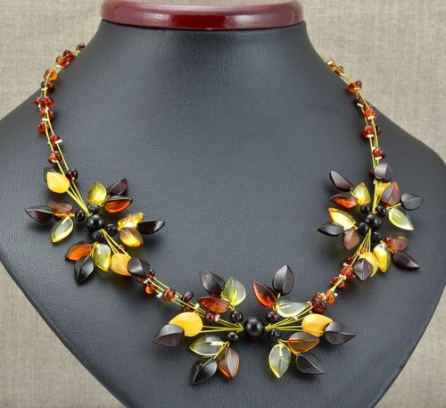 Amber Flower Necklace Made of Amazing Baltic Amber