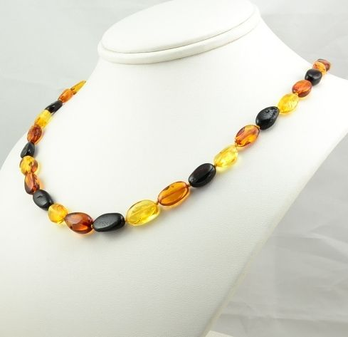 Multicolor Amber Necklace Made of Amazing Healing Baltic Amber