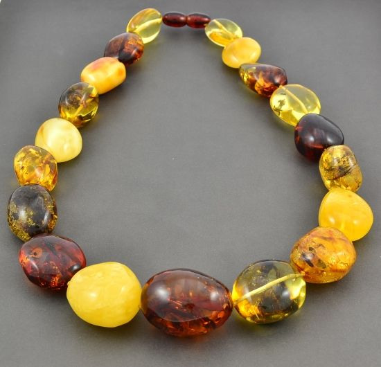 Pure gemstone jewelry Natural baltic amber Amber jewelry AMBER AV0445 Massive amber necklace Colorful necklace Big amber beads