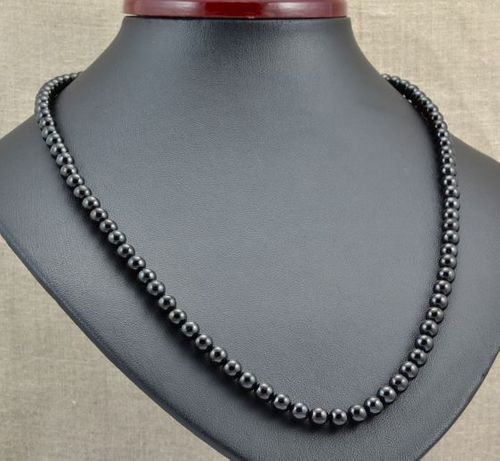 Amber Necklace Made of Black Baltic Amber
