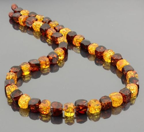 Amber Necklace Made of Square Cut Baltic Amber Beads