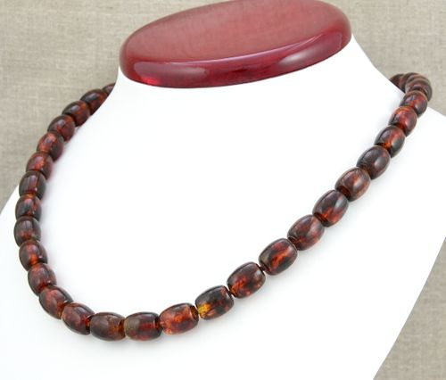 Amber Necklace with Tube Shape Baltic Amber Beads