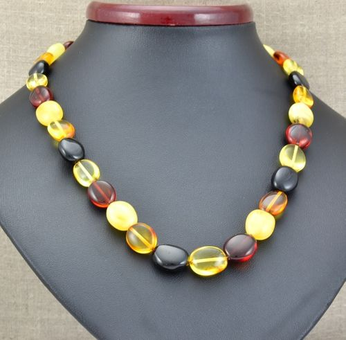 Amber Necklace Made of Healing Multicolor Baltic Amber