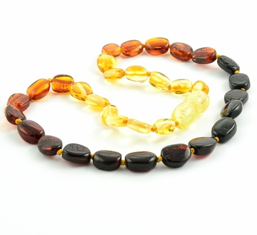 Rainbow Amber Necklace for Teething made of Baltic Amber