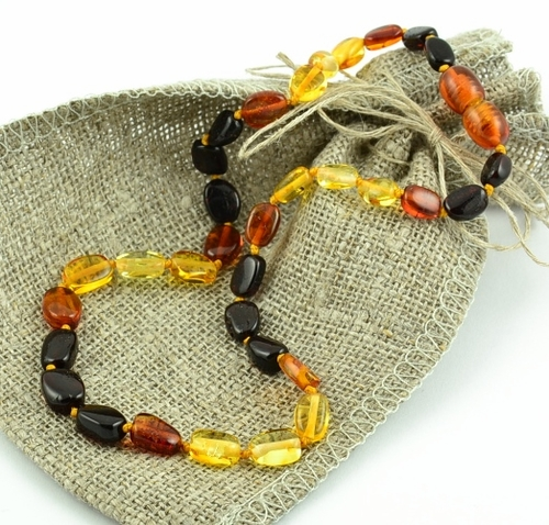 Amber Necklace For Teething with Multicolor Baltic Amber