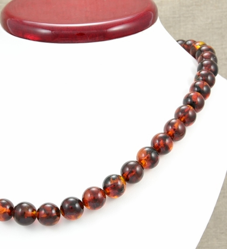 Amber Necklace with Dark Cognac Baltic Amber