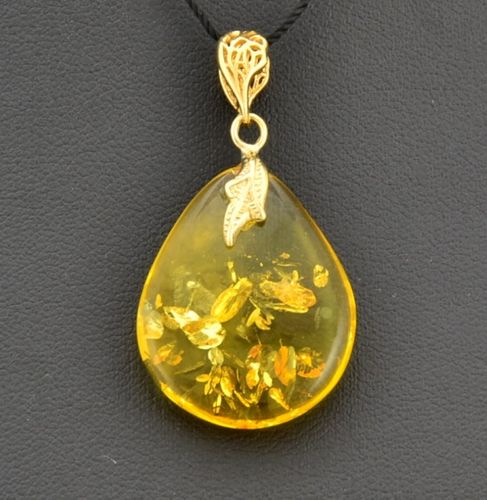 Amber Teardrop Pendant Made of Amazing Baltic Amber