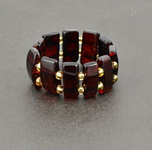 Amber Stretch Ring Made of Precious Healing Baltic Amber