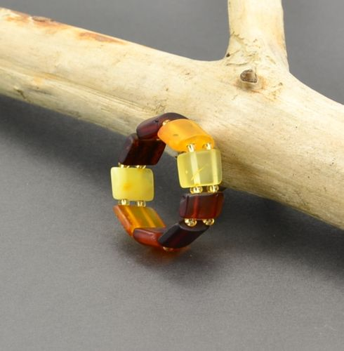 Amber Stretch Ring Handmade of Healing Baltic Amber