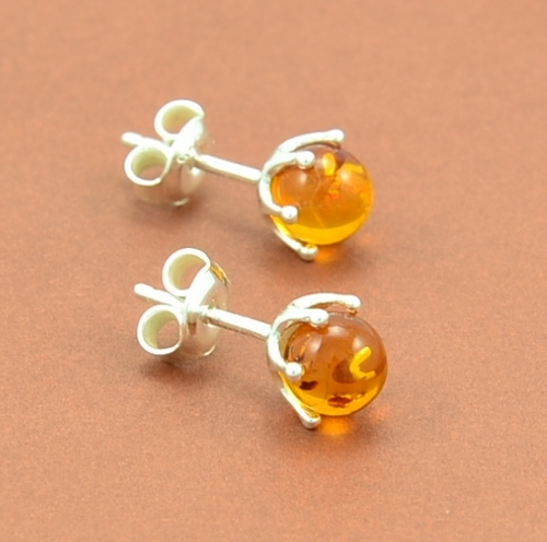 Amber Stud Earrings with Honey Baltic Amber