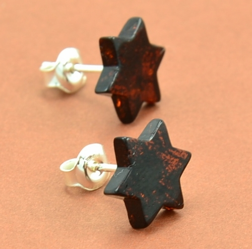 Amber Stud  Earrings with Dark Cognac Baltic Amber