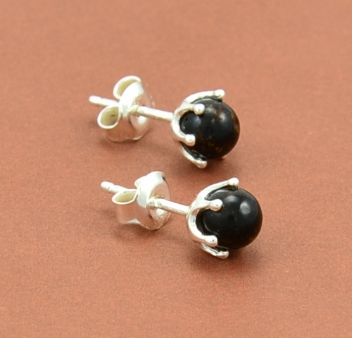 Amber Stud Earrings Made of Black Baltic Amber