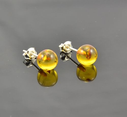 Amber Stud Earrings with Honey Amber