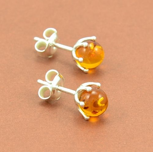 Amber Stud Earrings Made of Amazing Healing Baltic Amber