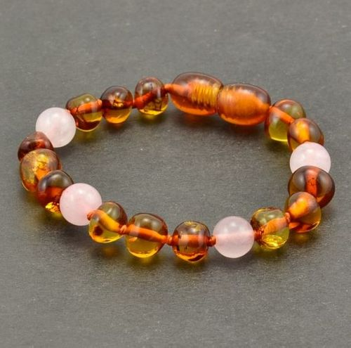 Amber Teething Bracelet Made of Baltic Amber and Rose Quartz