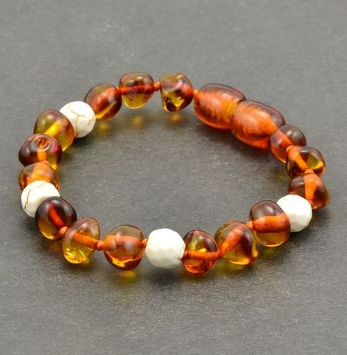 Amber Teething Bracelet Made Baltic Amber and White Turquoise