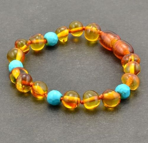 Amber Teething Bracelet Made of Baltic Amber and Turquoise