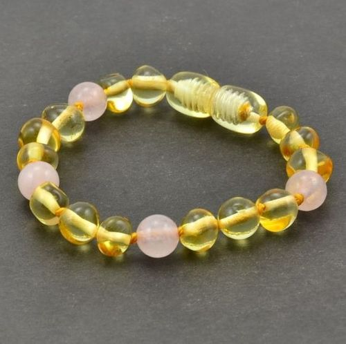 Amber Bracelet Made of Baltic Amber and Rose Quartz