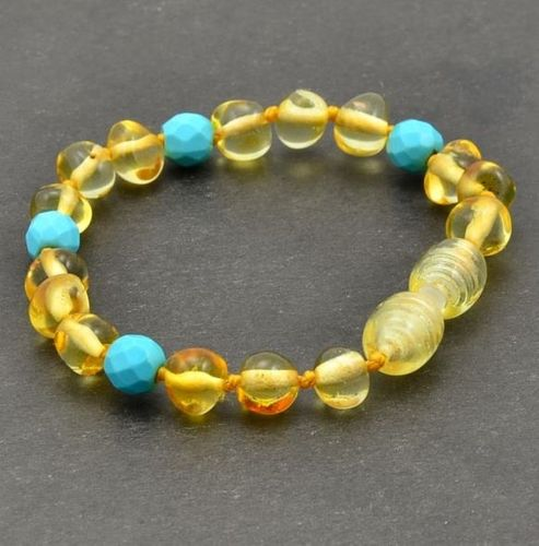 Amber Bracelet Made of Baltic Amber and Turquoise