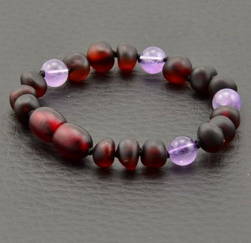 Amber Teething Bracelet Made of Baltic Amber and Amethyst
