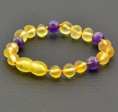 Amber Teething Bracelet Made of Baltic Amber and Amenthyst