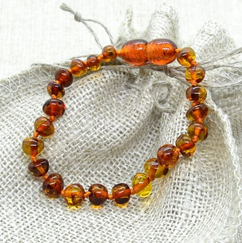 Amber Teething Bracelet Made of Cognac Baltic Amber