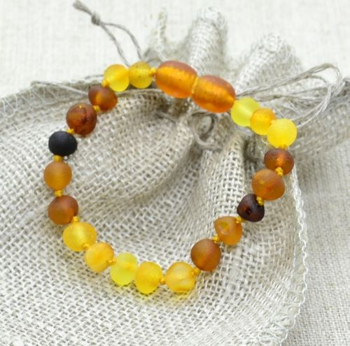 Raw Amber Teething Bracelet made of Multicolor Baltic Amber