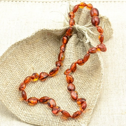 Amber teething necklace - 13 inches long