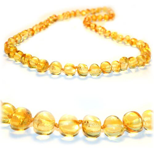 Amber Teething Necklace Made of Lemon Baltic Amber
